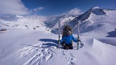 Tomasz w czasie przerwy na lanch, gdzieś na lodowcu Niederjochferner