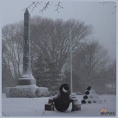 Frozen.  #BigFlakes #BigBalls #Obelisk #CanonCamera #CanonBall #Phalic #War #Monument #RememberTheFallen #HononTheTradition #BlanketOfSnow #WhiteOut #Picturesque #SnowStorm #MVinHD #NOfilter #Photography via #TheWhiteDog on #MVPBS #VisitMA #VisitMV  Photo
