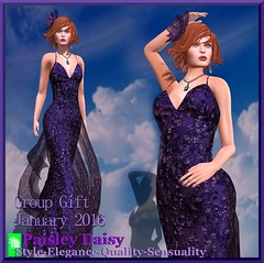 Paisley Daisy -Delicate Deep Purple Dior gown jan16 group gift