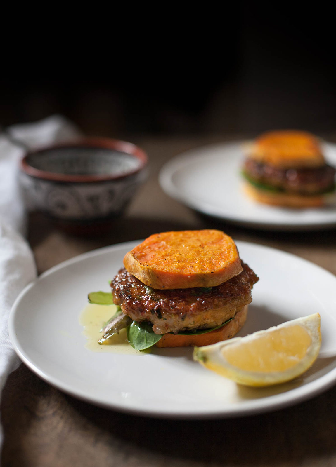 Shrimp Burgers with Lemon Caper Relish and Sweet Potato Buns (Gluten free, Grain free, Paleo, Whole30)