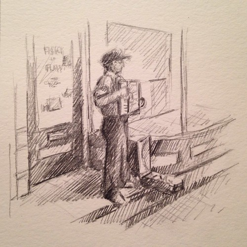 Sketch of an accordion busker in Eureka Springs, Arkansas. From a pic I took a couple of years ago.