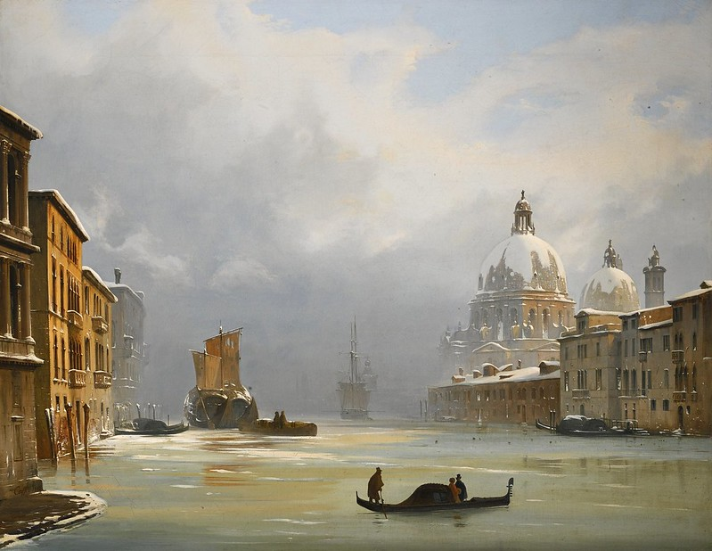 Ippolito Caffi - Venice, a view of the city under snow with the church of the Salute