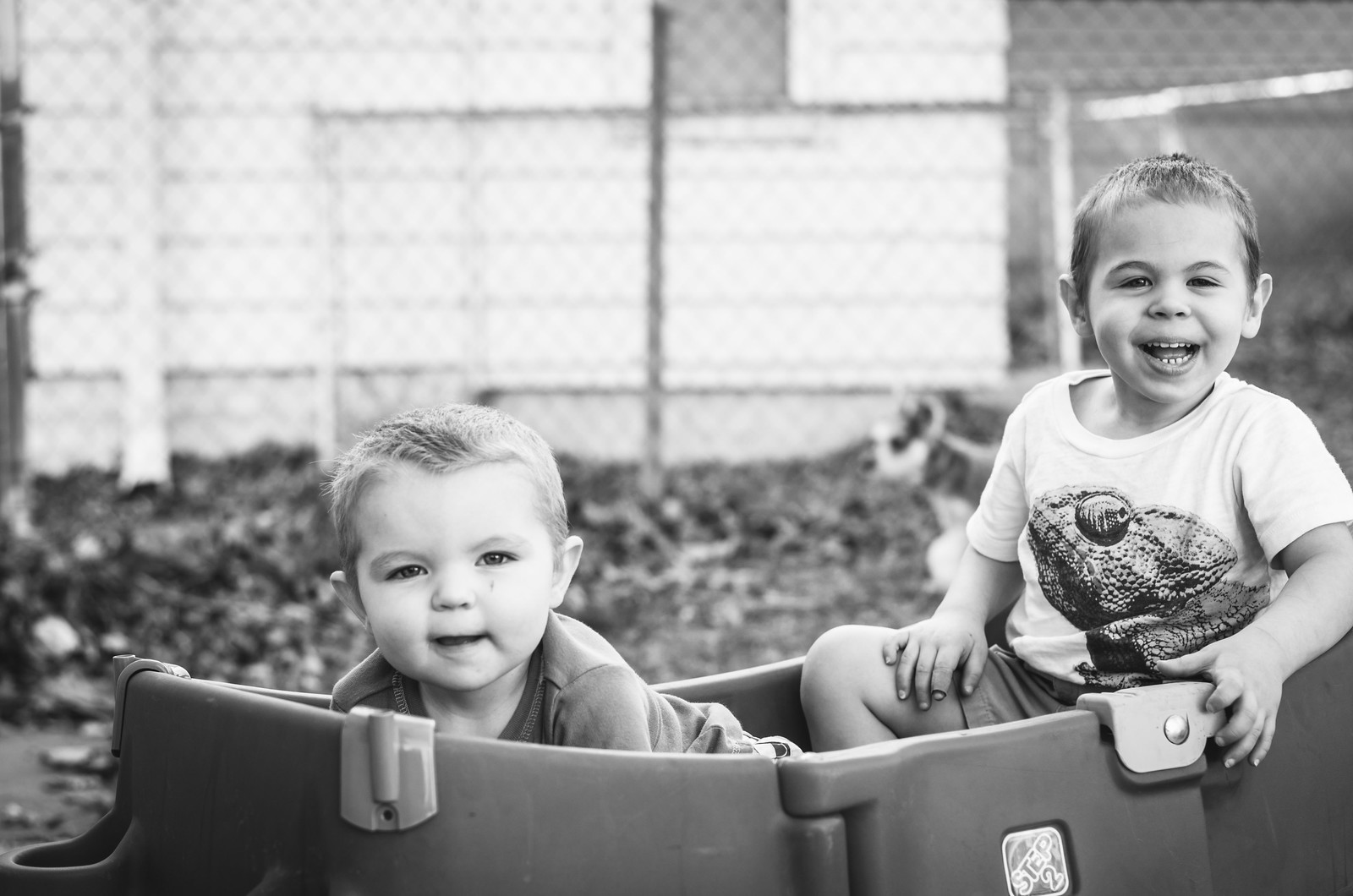 Micah and Ezra in the Wagon