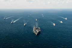 Ships assigned to the John C. Stennis Strike Group and the Republic of Korea  Navy 1st Fleet Maritime Battle Group One steam together during Maritime Counter Special Operations Force (MCSOF) exercise, as part of Foal Eagle 2016. (U.S. Navy/MC3 Andre T. Richard)