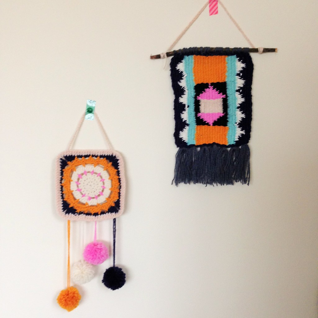 woven and crochet wallhangings