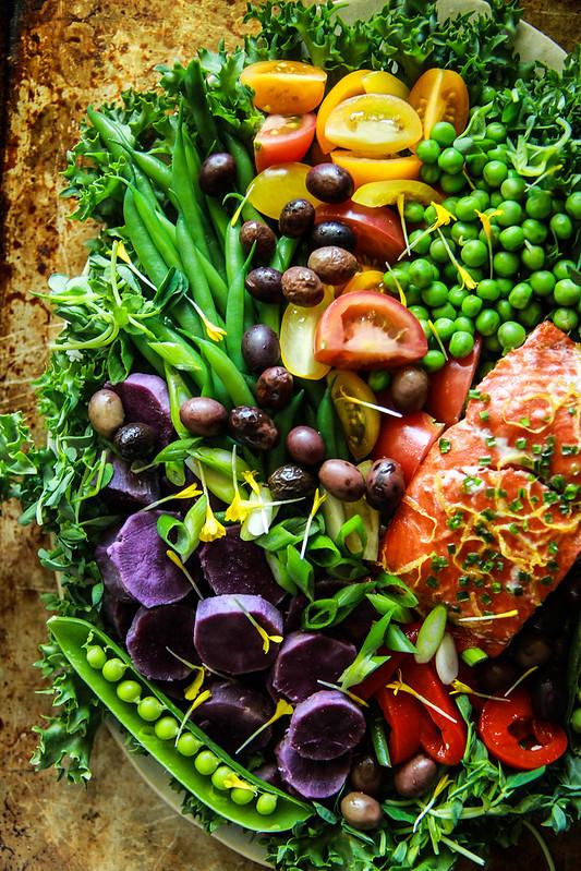 Salmon Nicoise Salad with Meyer Lemon Viniagrette