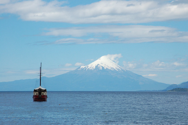 Views of Volcán Osorno over Lago Llanquihue from Puerto Varas, Chile