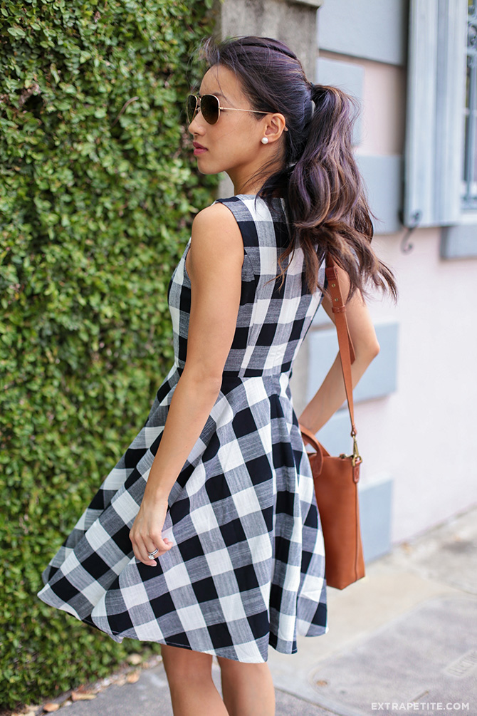 gingham check dress spring outfit charleston SC