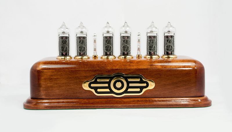 nixie clock hius on white