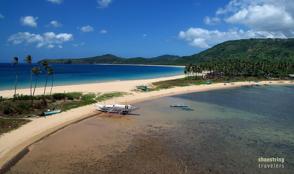Nacpan Beach and Calitang Beach viewed from a hill, El Nido