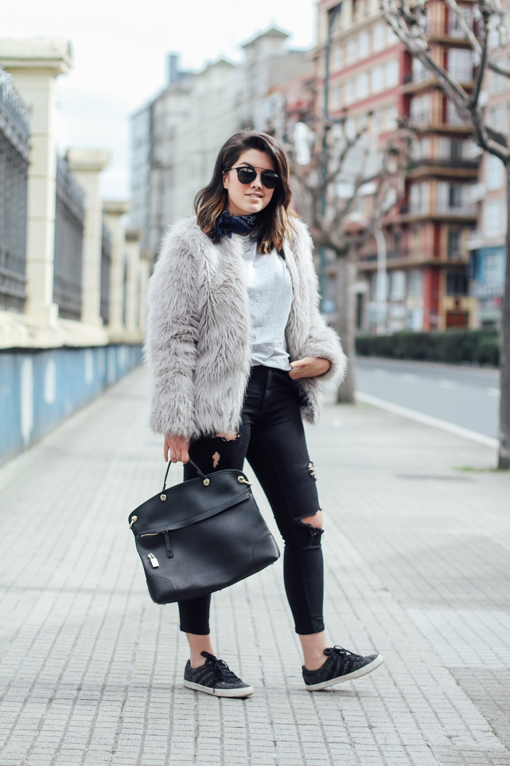 faux fur coat with sneakers adidas gazelle furla bag streetstyle