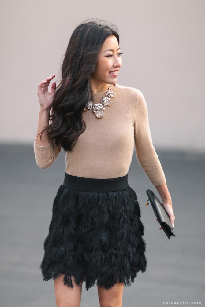camel sweater black fringe skirt