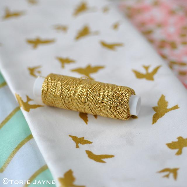 Gold shirring elastic