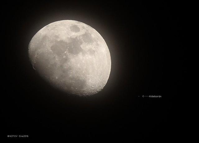 Luna y Aldebarán 19Ene2016