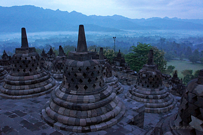 Borobudur, Yogyakarta - 0537 stupa in the morning