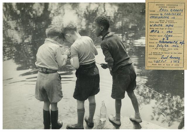 Boys fishing in Alexandra Park by Paul Graney, 29 July 1956