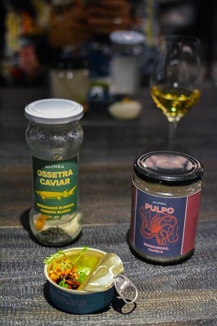 Jar: Ossetra caviar, white asparagus, white pepper, Can: Razor clams, coriander, carrot; Jar: Octopus, eggplant, smoking cinnamon