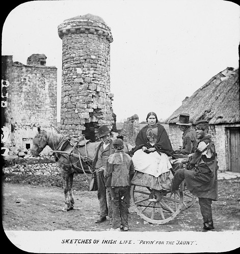 thomasholmesmason thomasmayne thomashmasonsonslimited lanternslides nationallibraryofireland trim countymeath priory saintjohnthebaptist prioryofstjohnthebaptist newtown newtownbridge tower restoration jaunt jauntingcar coat tatters tourism horse copy payinforthejaunt sketchesofirishlife locationidentified