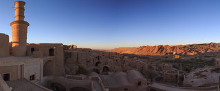 Panoramic view of Kharanaq at sunset near Yazd, Iran