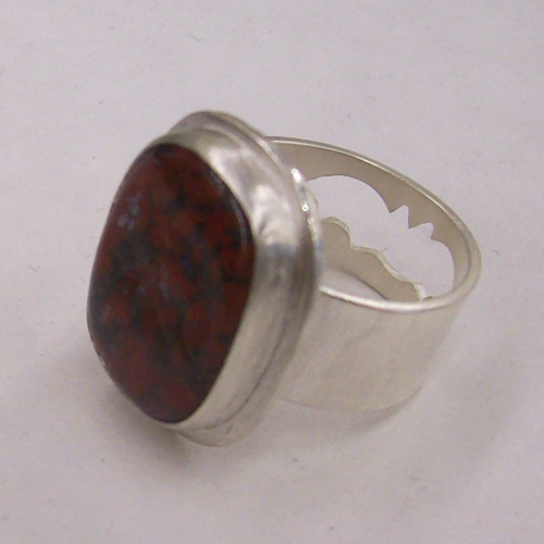 Sterling Silver Bat Ring with Red Plume Agate
