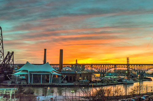 city bridge winter sunset ohio sky clouds river geotagged evening nikon unitedstates cleveland hdr cuyahogariver nikond5300