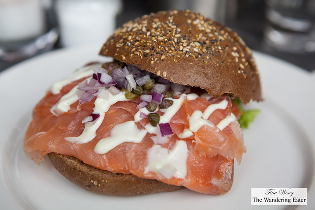 Smoked salmon sandwich at IJ Kantine