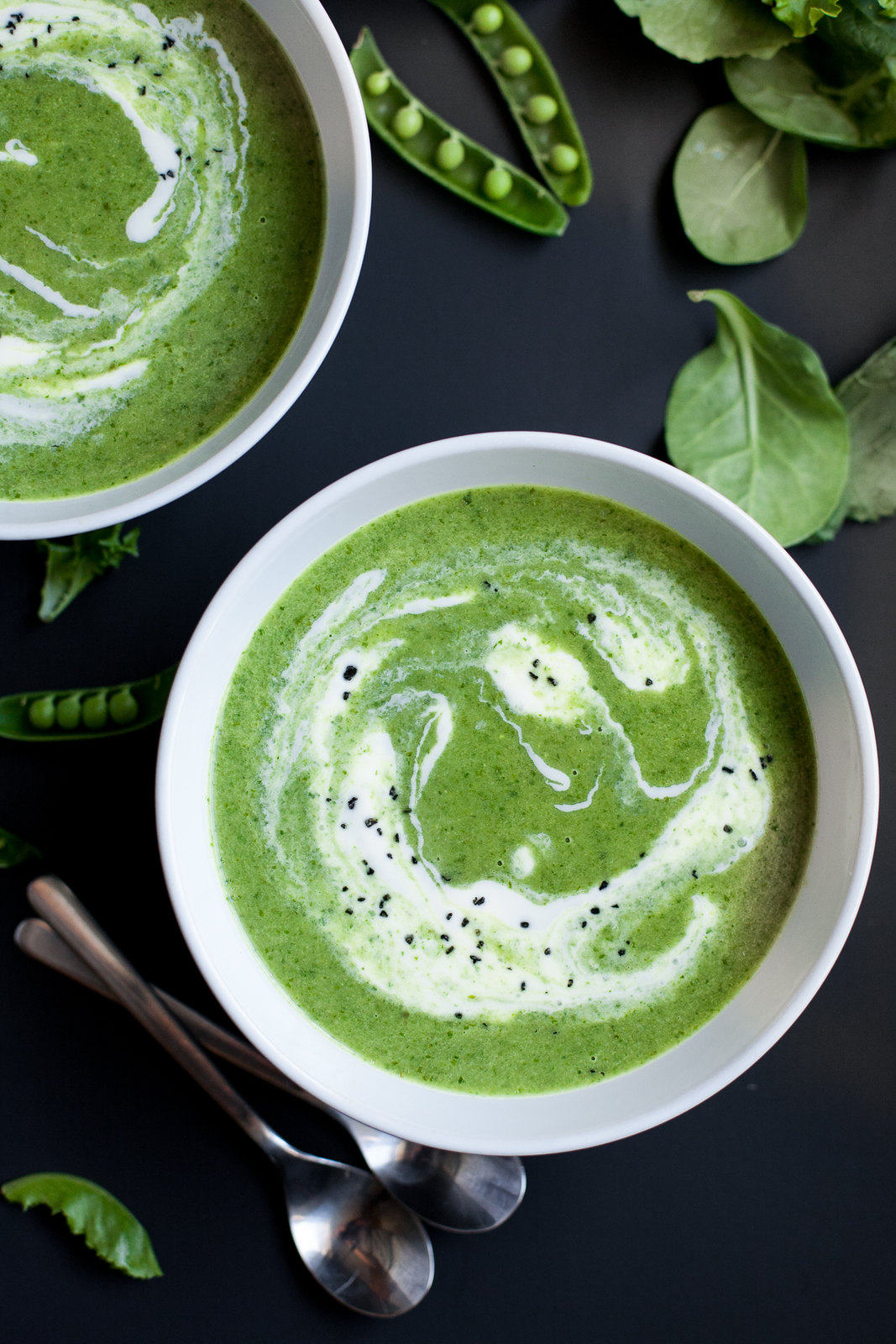 Spring Green Soup with Sugar Snap Peas (Paleo and Vegan versions)