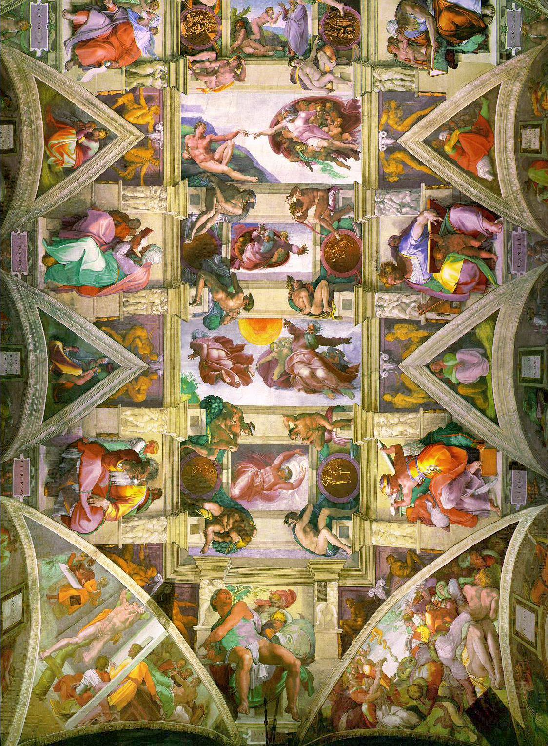 The left half of the ceiling of the Sistine Chapel, painted by Michelangelo in 1508 and restored in 1994
