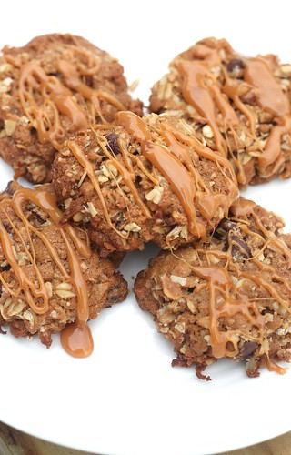 Coconut Oatmeal Cookies with Caramel Drizzle