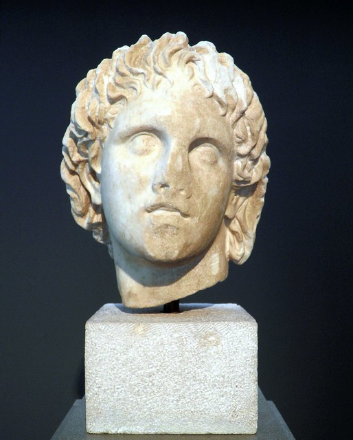 Marble head of Alexander the Great (325-300 BC). Chance find from the area of Giannitsa, Archaeological Museum, Pella