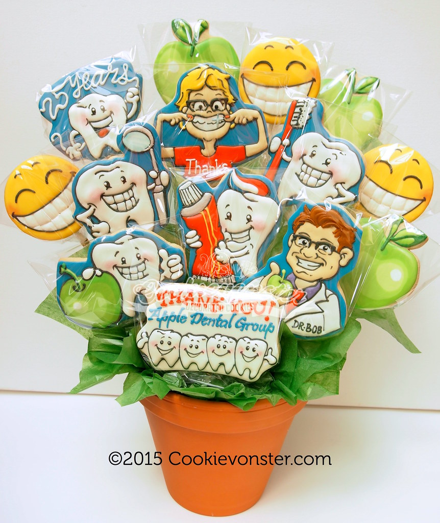 Cookie bouquets gifts cookievonster custom decorated cookies apple dental gift cookie bouquet negle Image collections