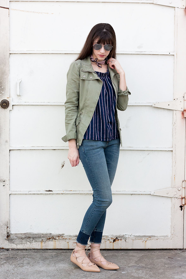 Cropped Skinny Jeans, Cargo Jacket, Lace Up Flats