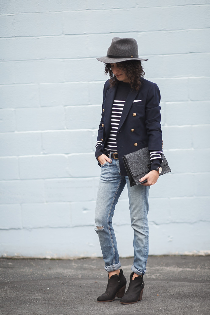 Petit Bateau sweater and navy double-breasted blazer