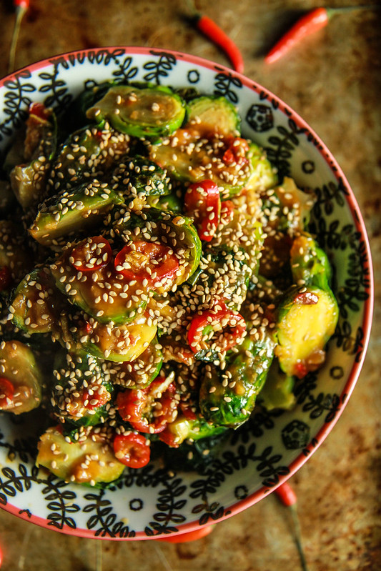 Spicy Asian Brussels Sprouts -Gluten Free from HeatherChristo.com