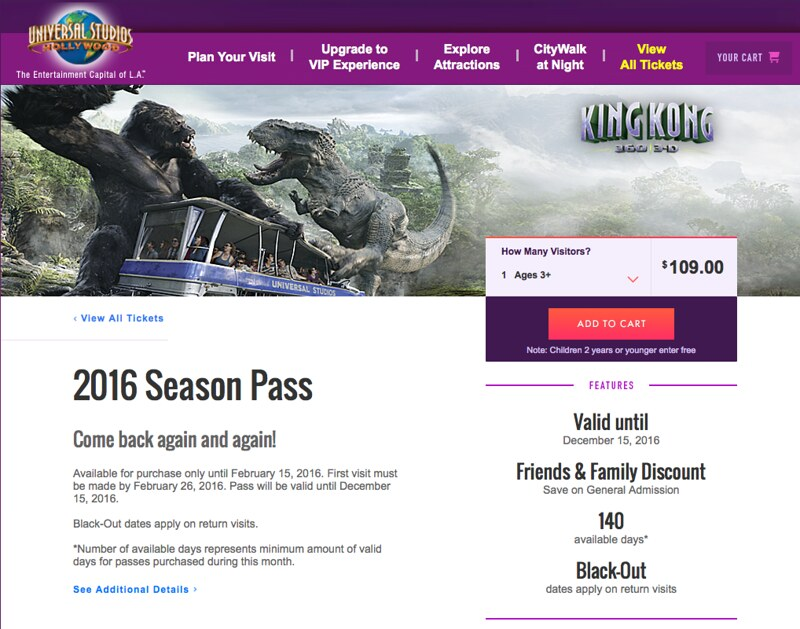 universal studios hollywood introduces 2016 season pass with 140 days of admission inside. Black Bedroom Furniture Sets. Home Design Ideas
