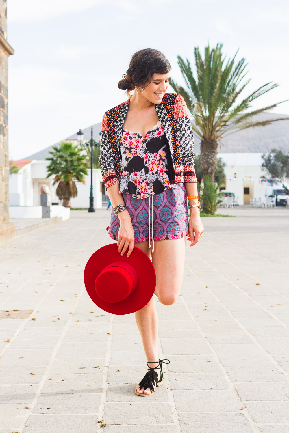 canary islands printed summer holiday look