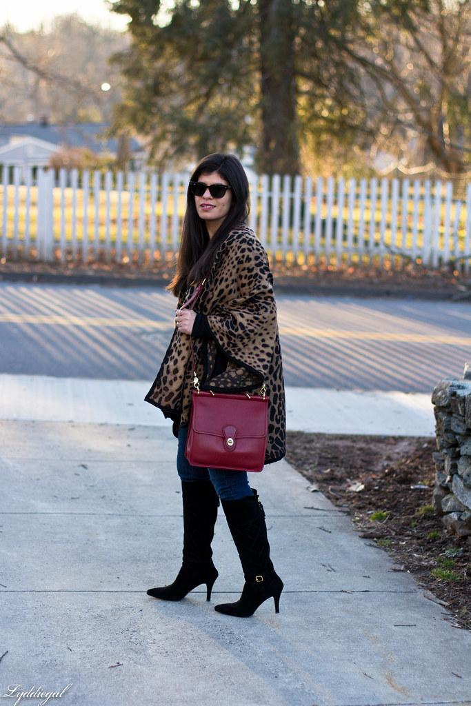 leopard poncho, black tee, black boots, red coach bag-2.jpg