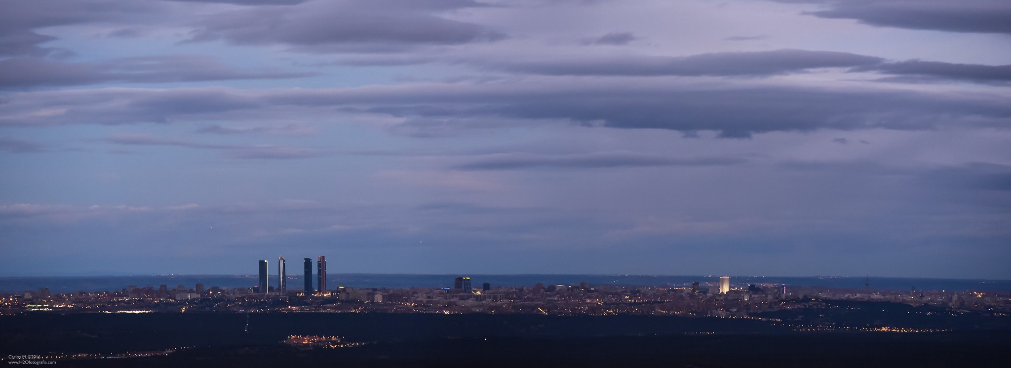 Madrid skyline nightview