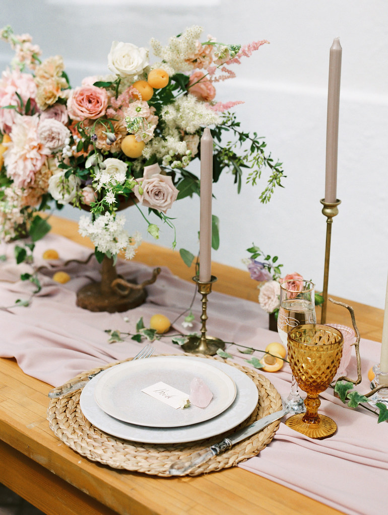 Spanish style wedding shoopastel wedding tablesetting + taper candles | photo by Elena Pavlova | Fab Mood - UK wedding blog #styledshoot