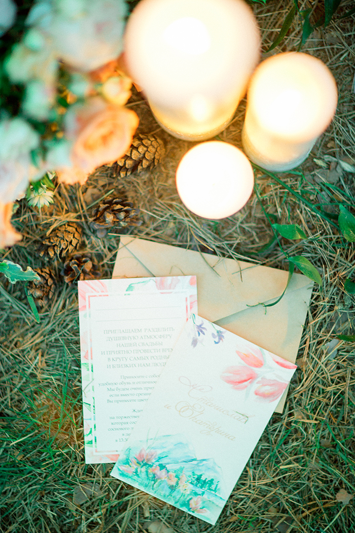 Hand painted Wedding Invitations for a Romantic Woodland Wedding Inspiration { Soft Peach Tones } | Photo by Igor Kovchegin Photography | Read more on Fab Mood - UK wedding blog