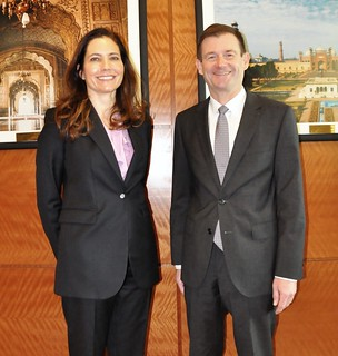 Assistant Secretary Ryan Poses for a Photo With U.S. Ambassador Hale in Islamabad