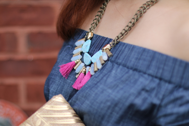 chambray dress, off shoulder, lydell NYC, tassel necklace
