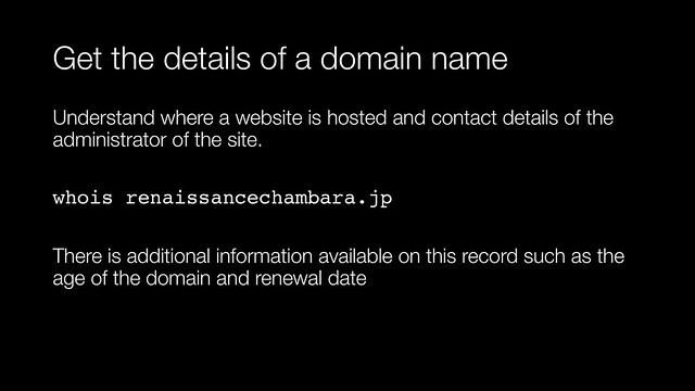 Get details about a domain name
