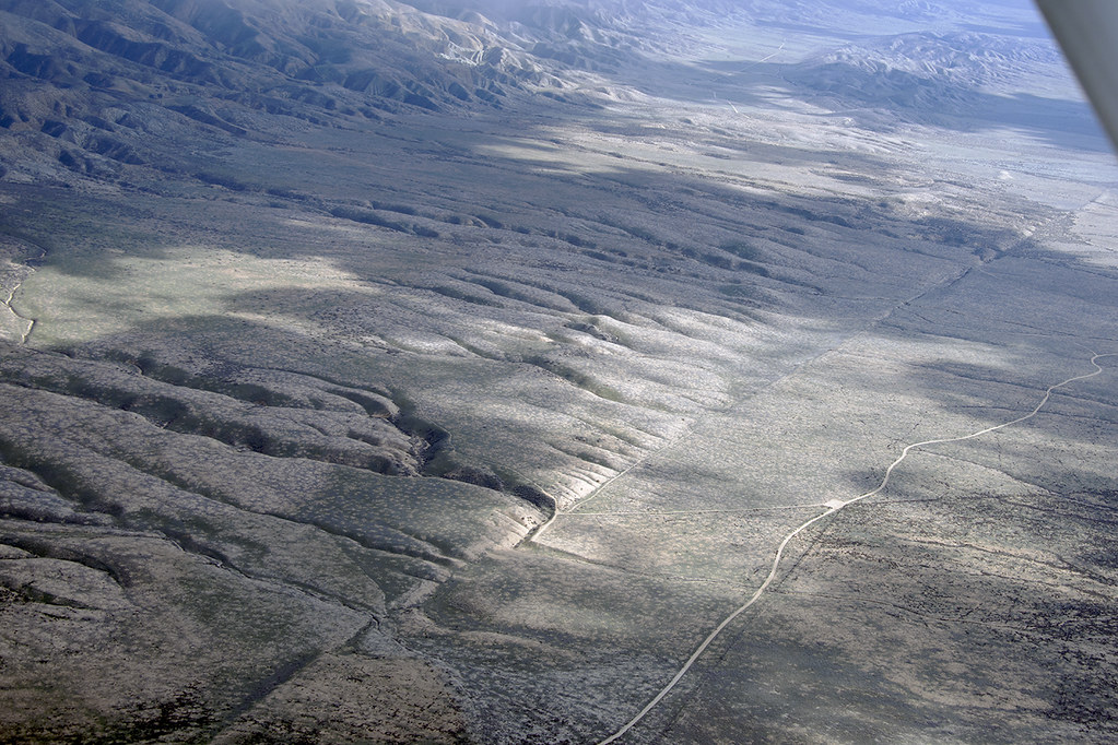 Aerial view of the San Andreas Fault and Wallace Creek, Carrizo Plain, San Luis Obispo County, California