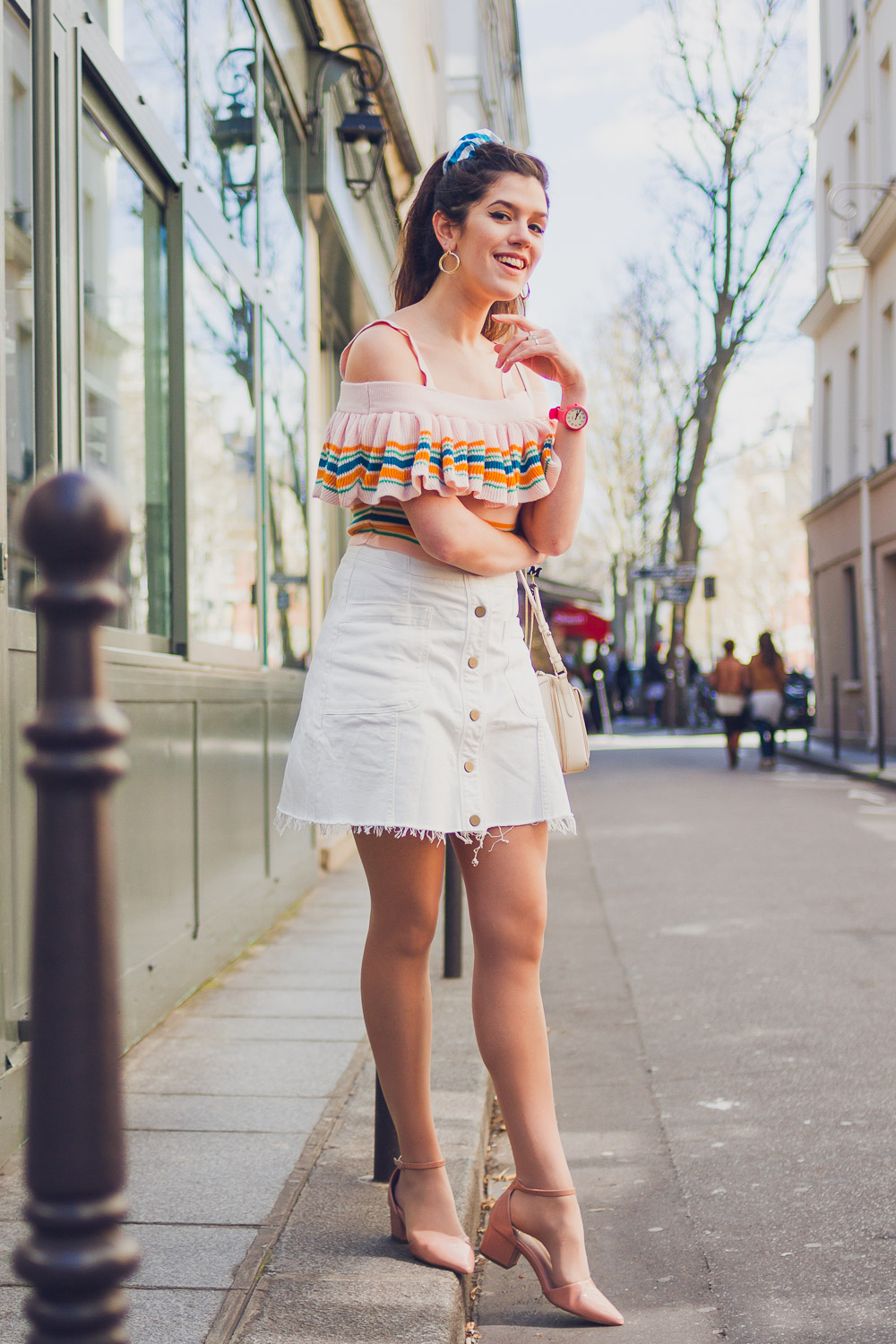 pink outfit in paris pretty streets skirt and off shoulder top
