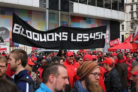 Bruxelles. Rassemblement syndical du 19 avril.