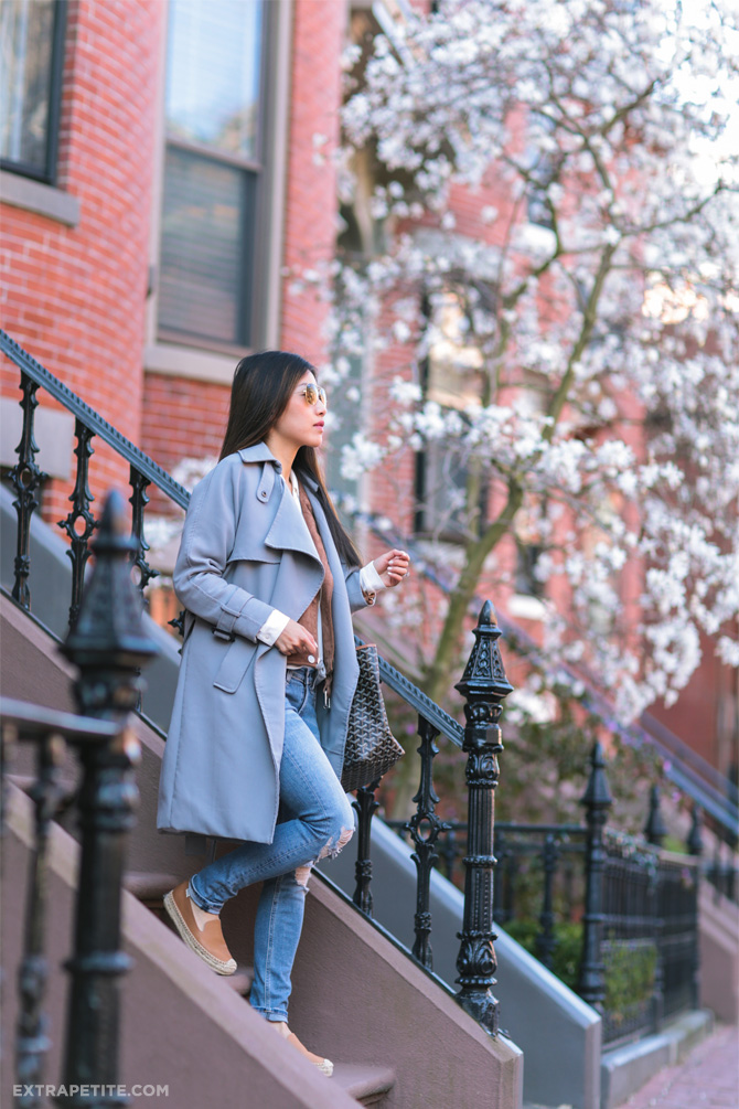 gray trench jacket soludos leather espadrilles spring outfit
