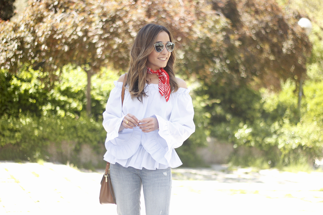 off the shoulders top with bell sleeves red bandana nude heels dior sunglasses spring outfit25