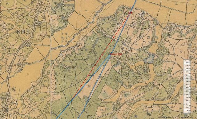 愛宕山古墳群と駅路痕跡 迅速測図