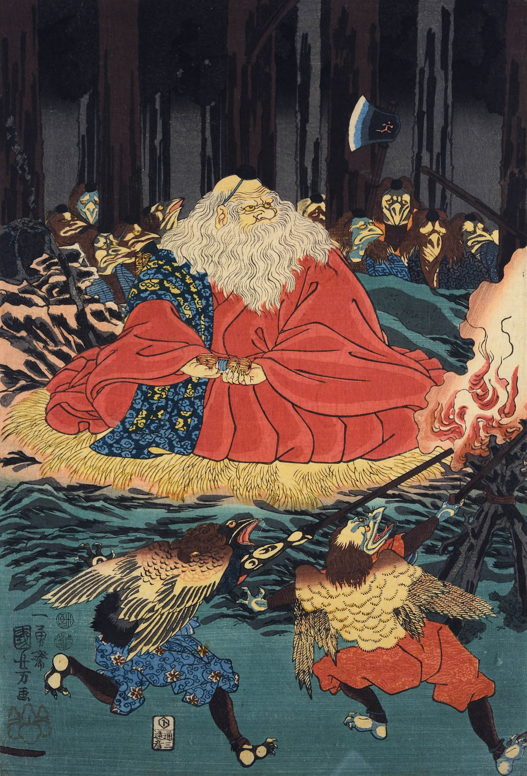 Utagawa Kuniyoshi - Sojobo, King of the Tengu, and Yoshitsune leaping in the air, 1847-52 (middle panel)
